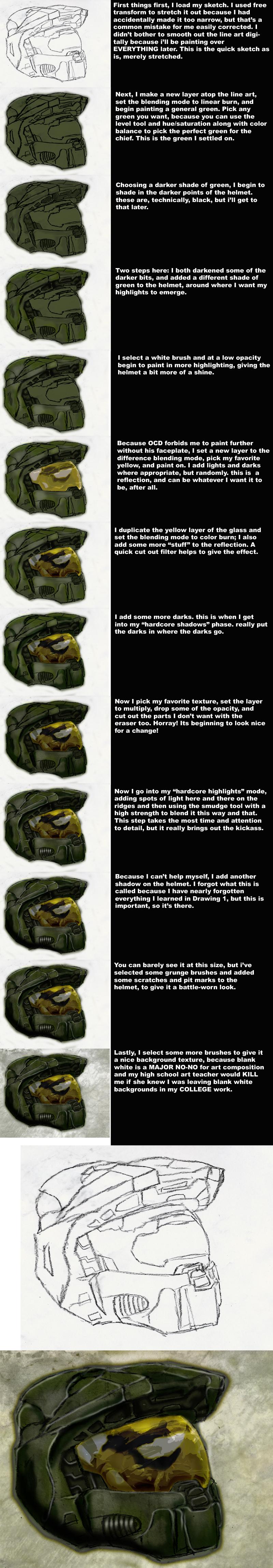Master Chief Helmet Tutorial by MacabreHeretic