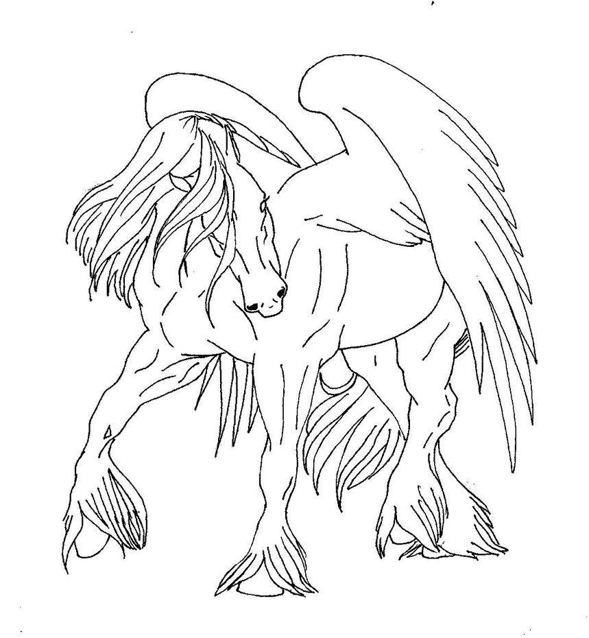 Pegasus friesianordraft horse by elliemurray on deviantart for Coloring pages of pegasus
