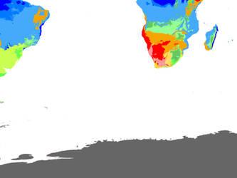 Present World Climate 1 km: 2 Souths Hexasphere by GrantExploit