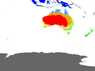 Present World Climate 1 km: Downunder Hexasphere by GrantExploit