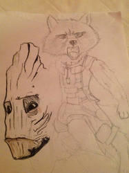Rocket And Groot (WIP) by Silverfan4EVER123
