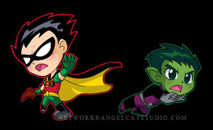 Chibi Robin and Beast Boy by teentitans