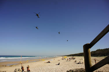 Helicopters over the Beach.
