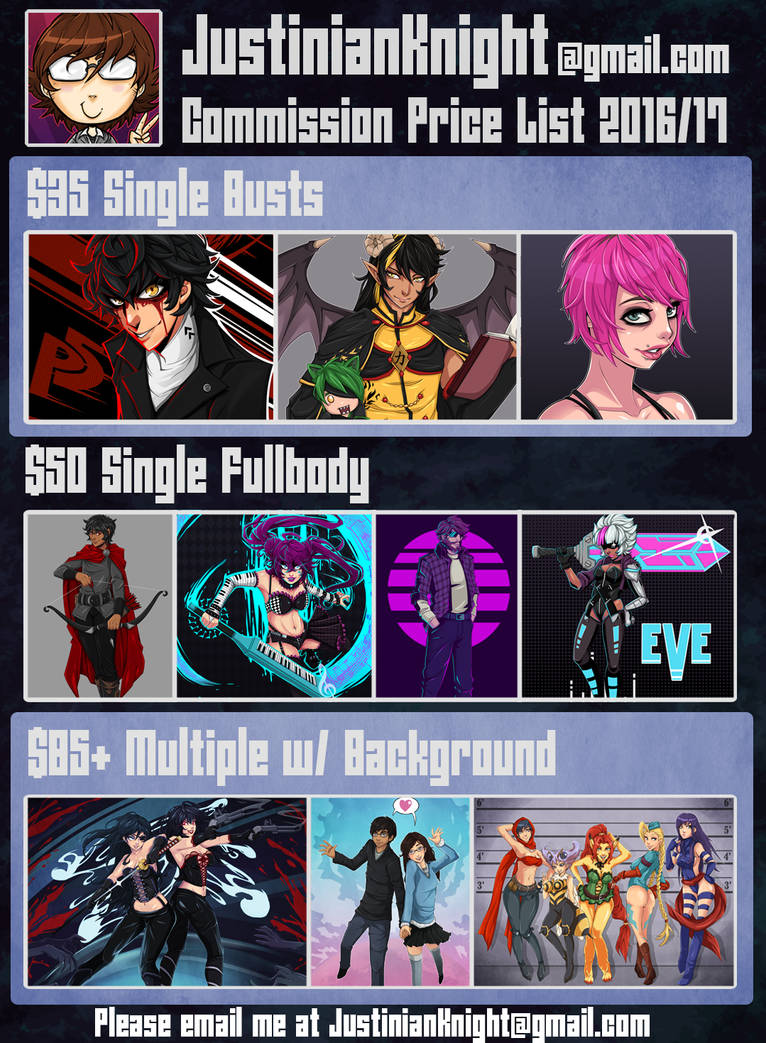 JustinianKnight Commissions 2016/17
