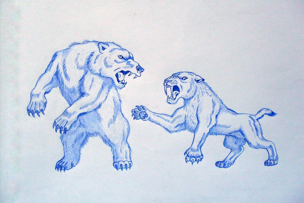 Smilodon Face By Pyroraptor42 On Deviantart: Smilodon VS Cave Bear II By Javor911 On DeviantArt