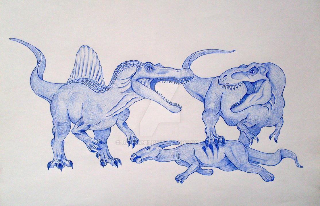 Spinosaurus vs T-Rex by Javor911