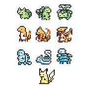 16x16 Pokemon by e-pona