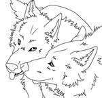 Free lineart Wolf Couple
