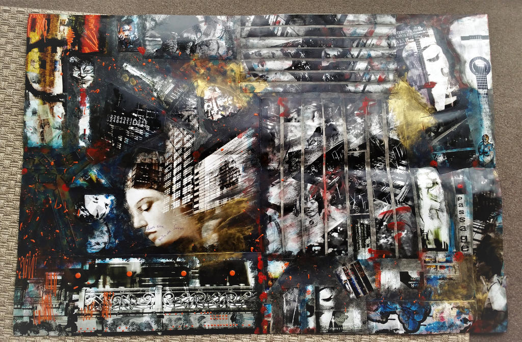 mix collage of my own pictures, acrylic and carton by valeriemonthuit