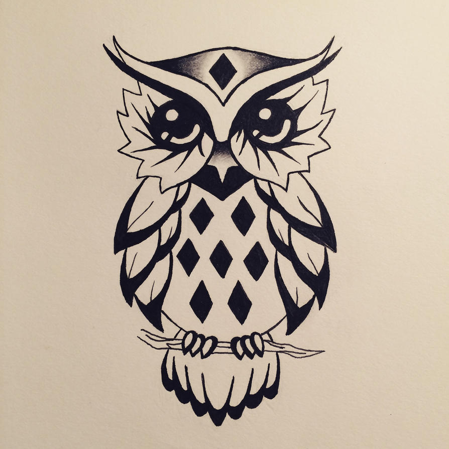 Owl Line Drawing Tattoo : Owl tattoo design by watergirl on deviantart