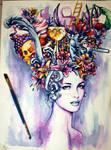 Max Gregor Summers queen water color on paper