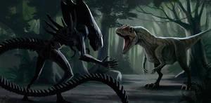 Alien vs allosaurus
