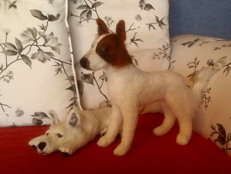 Gordon and Lumos - Needle Felted Dogs
