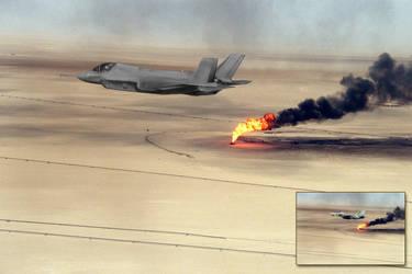 F-35 Over Burning Oil Field