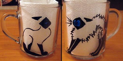 Funny Siamese Cat Glass Tea Mug