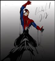 Spider v Venom Symbiote [Colored] by livelovejiujitsu