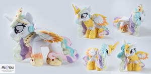 Rainbow Power Celestia plush with two outfits