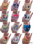 Pony faces! (Plush charms/keyrings/ornaments)