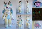 Bubblegum Jackalope/fox anthro plush
