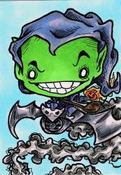 Green Goblin Sketch Card by steviezeeart