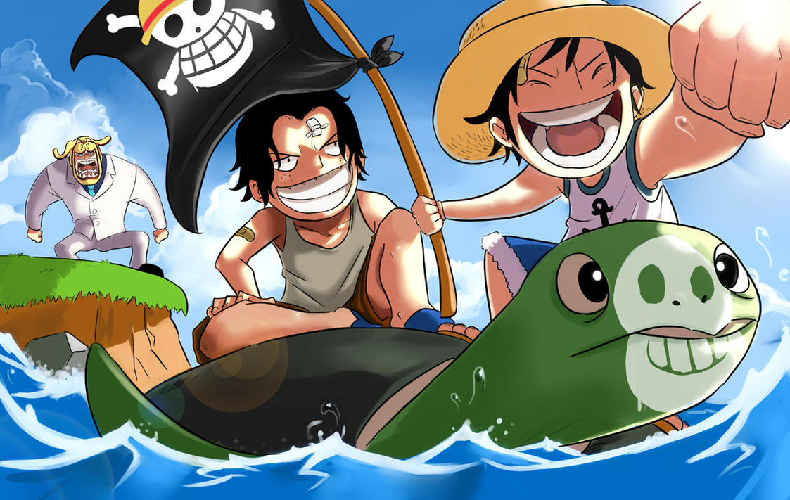A vous de jouer ! One_Piece_Luffy_Ace_and_Garp_by_mushi23