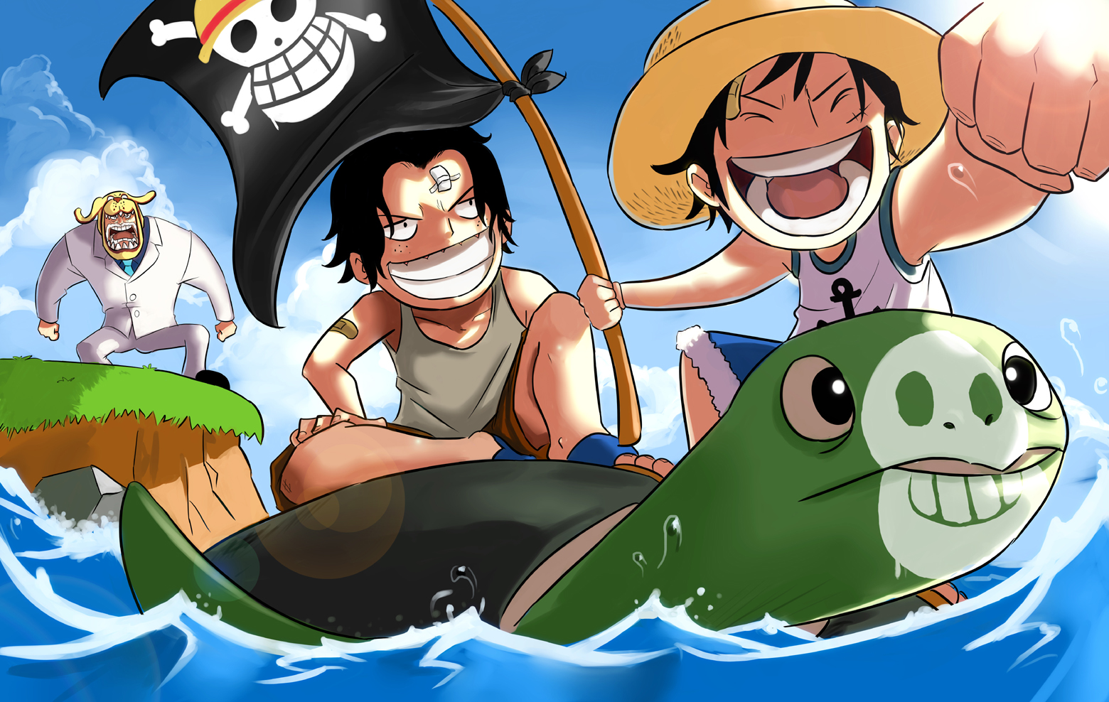 One piece luffy ace and garp by mushi23 on deviantart