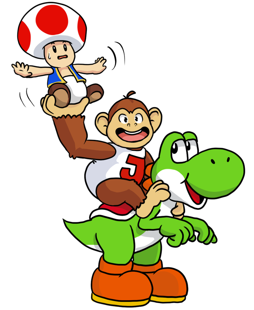 Mushroom, ape, and Dinosaur by pocket-arsenal