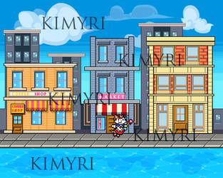 Pixel art city background by Kimyri