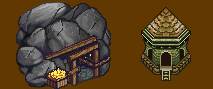 Golden mine and tower in warcraft 2 style by Kimyri