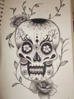 Dotwork Sugar Skull by hairosebear