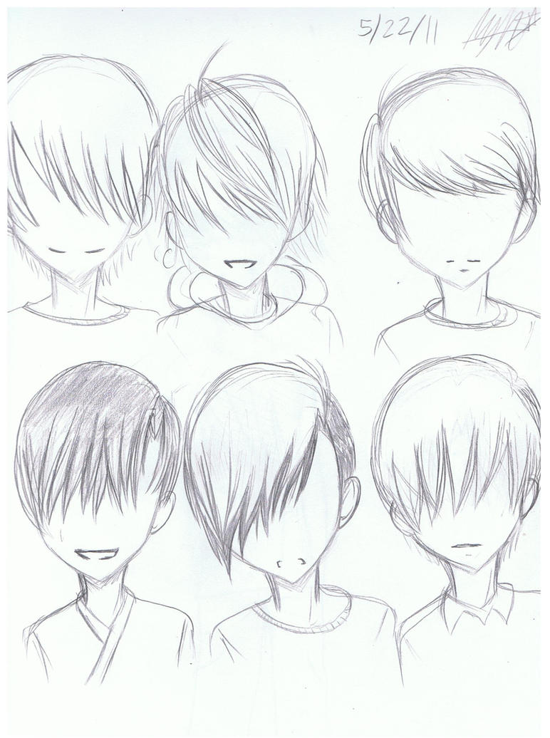 Anime Guy Hairstyle Sketches By Pinkkittyayh On DeviantArt - Hairstyle boy drawing