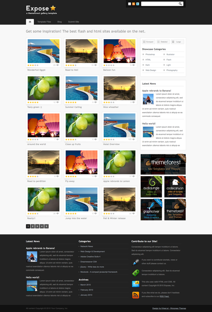 Expose gallery wordpress theme by nathanr666 on deviantart for What wordpress template is this