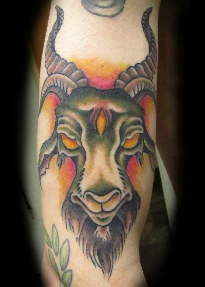 Old School Goat Tattoo by jinx2304