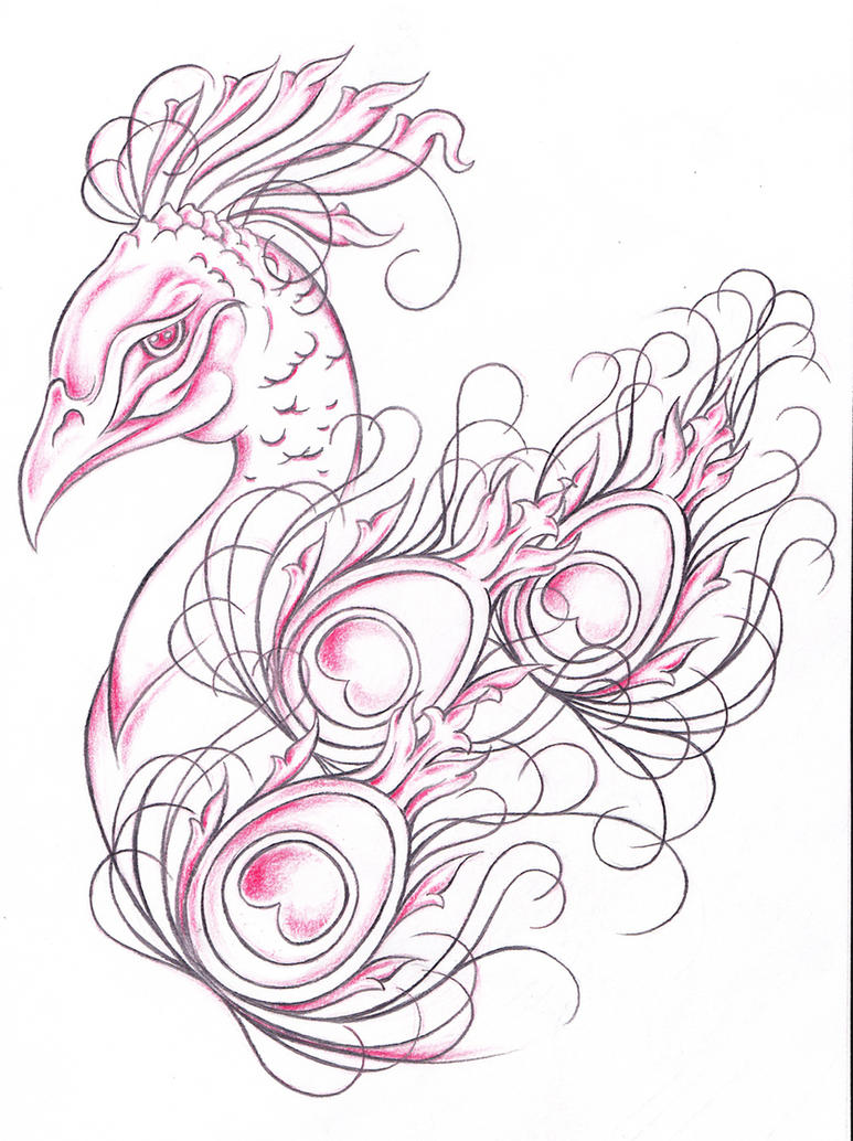 Peacock Tattoo Design by jinx2304