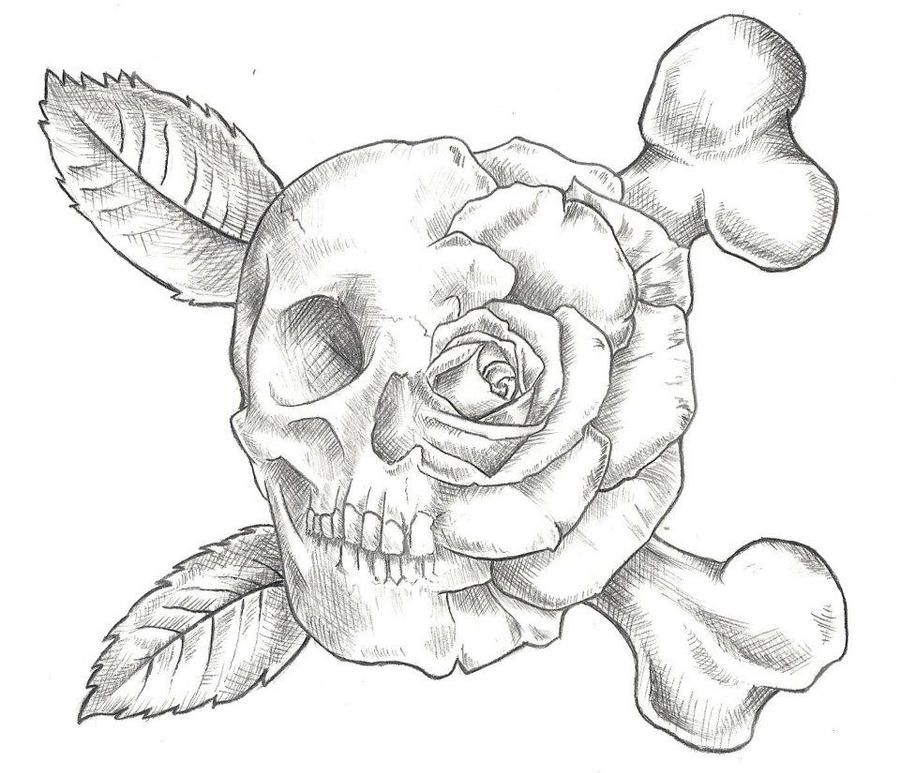 Black And White Rose And Skull Tattoos Skull And Rose Tattoo Design