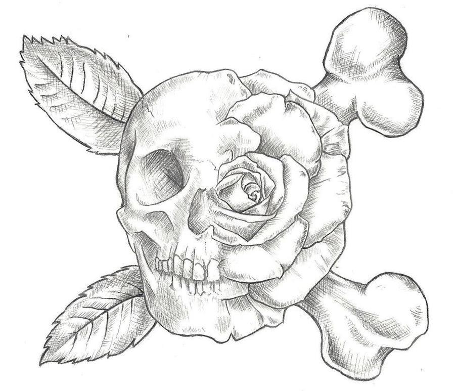 skull and rose tattoo design by jinx2304 on deviantart. Black Bedroom Furniture Sets. Home Design Ideas