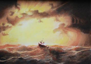 Sunset sea by Hymnodi