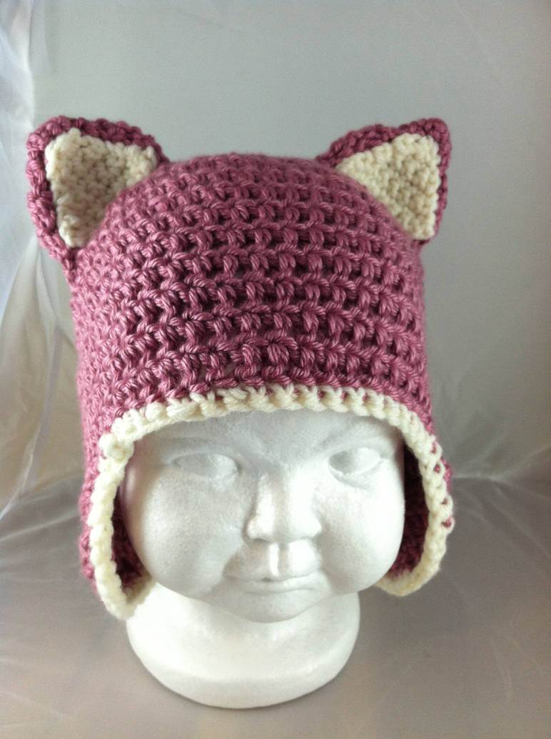 Crochet Baby Kitty Ears Hat Berries And Cream By Nerdstitch On