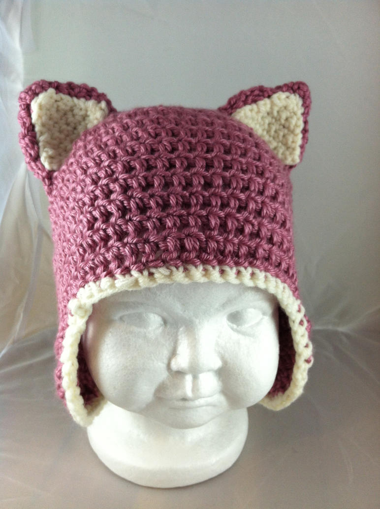 Newborn Hat With Ears Crochet Pattern : Crochet Baby Kitty Ears Hat - Berries and Cream by ...