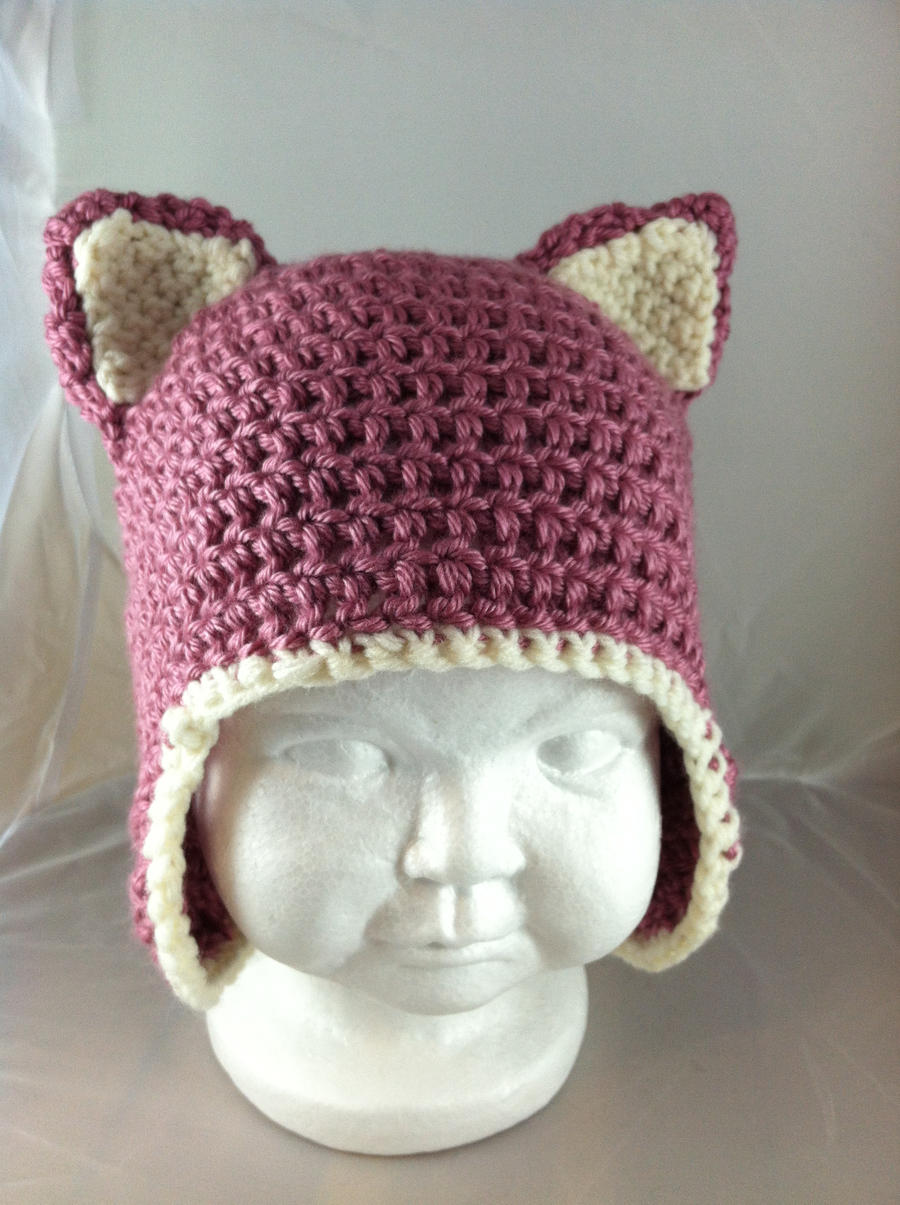 Crochet Baby Kitty Ears Hat - Berries and Cream by NerdStitch on ...