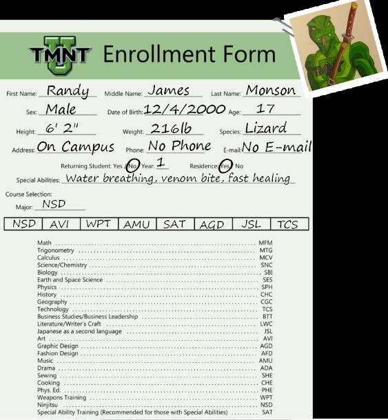 Randy Monson TMNT-U Enrollment by ShadowDragon6114