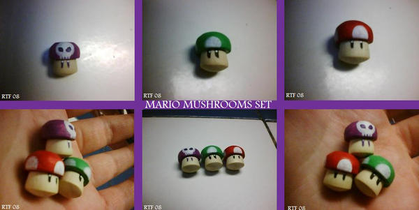 Mario Mushrooms Woodcraft Set by RockStarRoku