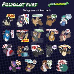 Polyglot furs sticker pack