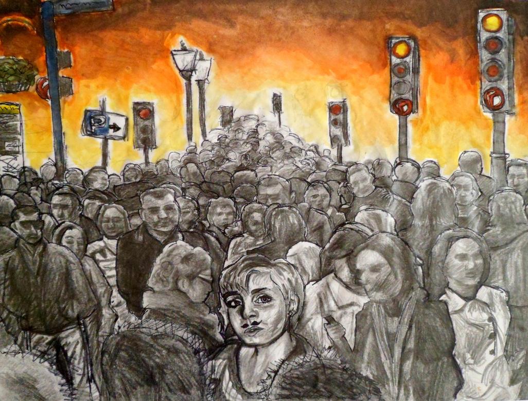 AS Level Art: Crowd by DaintyStain on DeviantArt