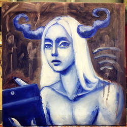 Mythical Creature with an Ipad