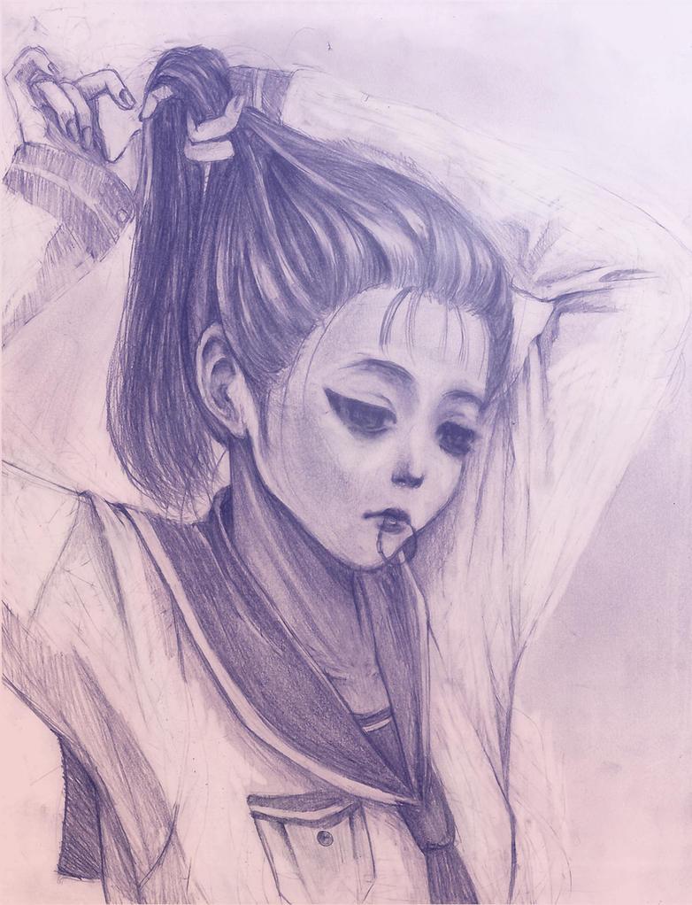 Girl in School Uniform Tying Her Hair by naru