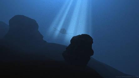 Liopleurodon in the ocean blue by Ixionx