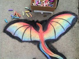 Rainbow dragon-chalk art by CrystalCircle