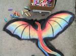 Rainbow dragon-chalk art