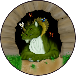 Dragon with butterflies-button